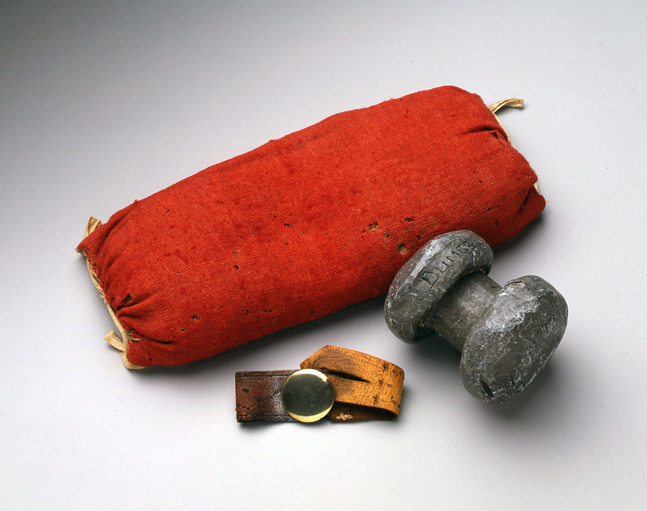 Jefferson's wrist cushion, dumbell, and wrist strap