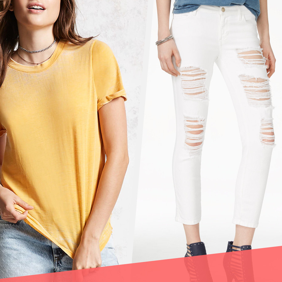 yellow t-shirt and white skinny jeans