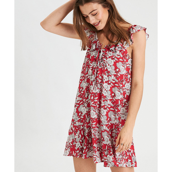 wallpaper floral dress in red