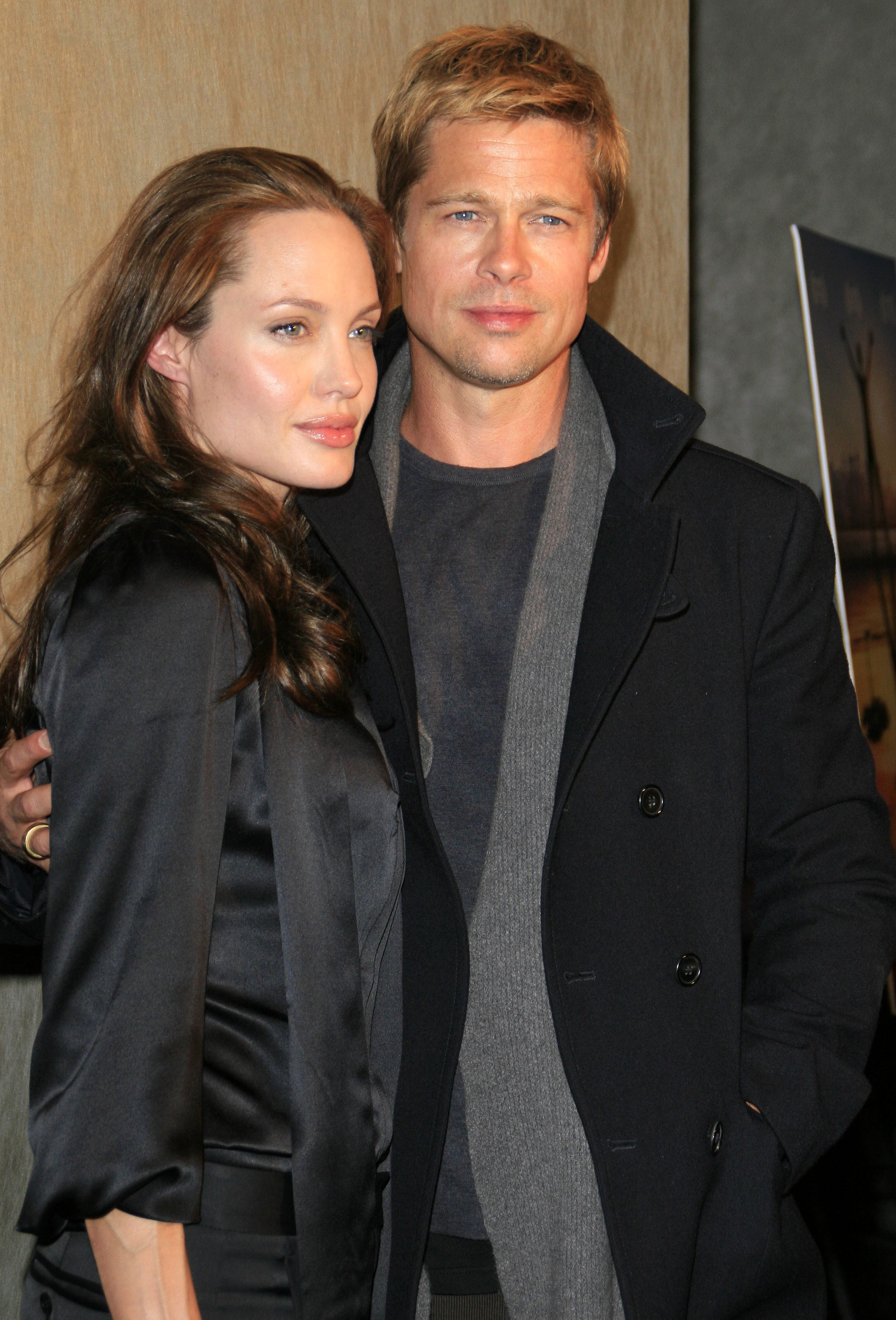 angelina jolie and brad pitt at the god grew tired of us premiere