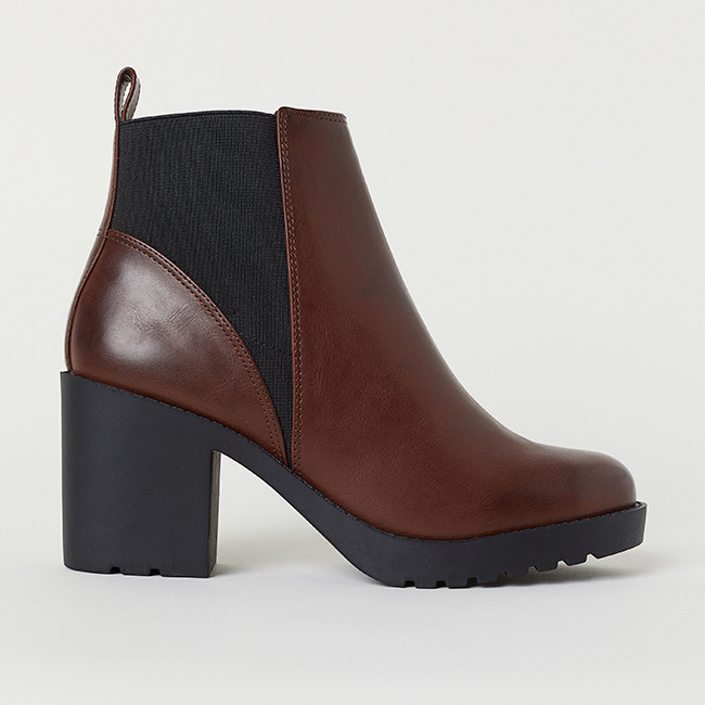 Faux brown leather ankle boots with elastic side panels and 3 ¼ in heel