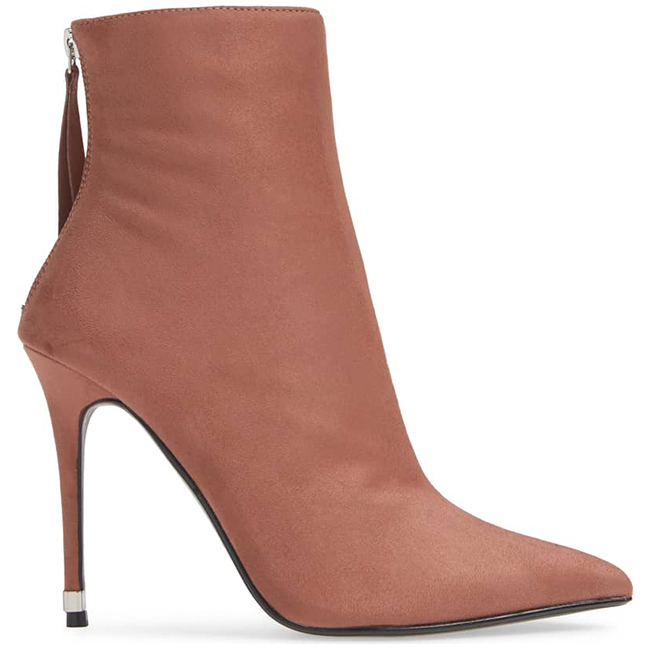 Dark pink high heeled ankle boot with pointed toe, stiletto heel, and tasseled zipper