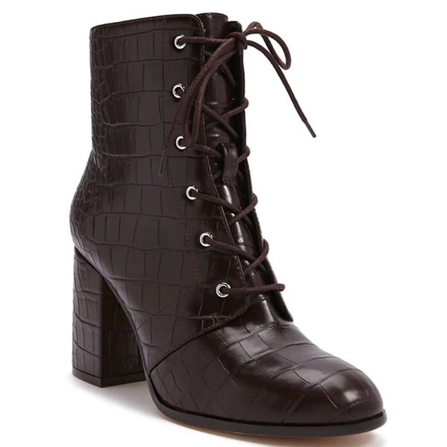 Chocolate croc-embossed, lace front, chunky block heeled ankle boot with side zipper