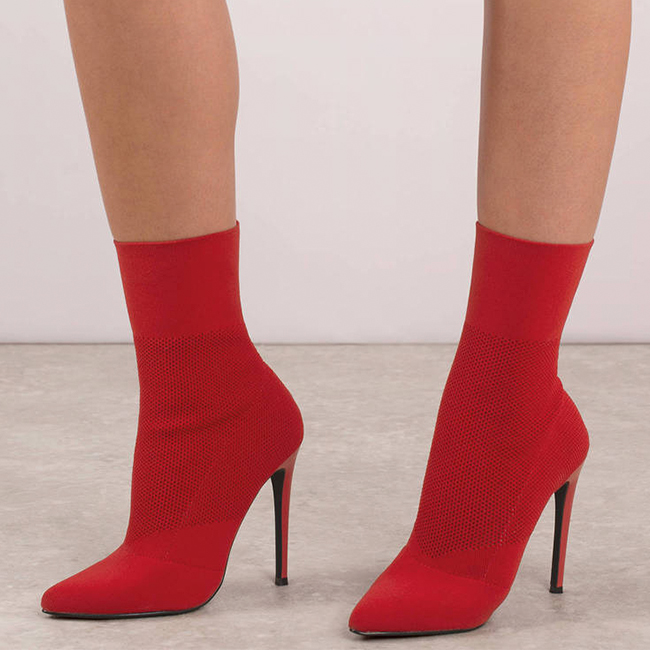 Red heeled ankle booties with ribbed sock detail
