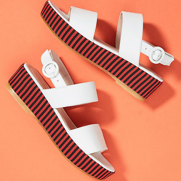 nautical plaform sandals with striped soles and white straps