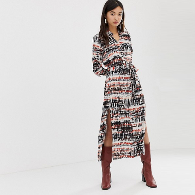 Valentine's Day Date Outfits ASOS Stradivarius Maxi Shirt Dress in Tie Dye