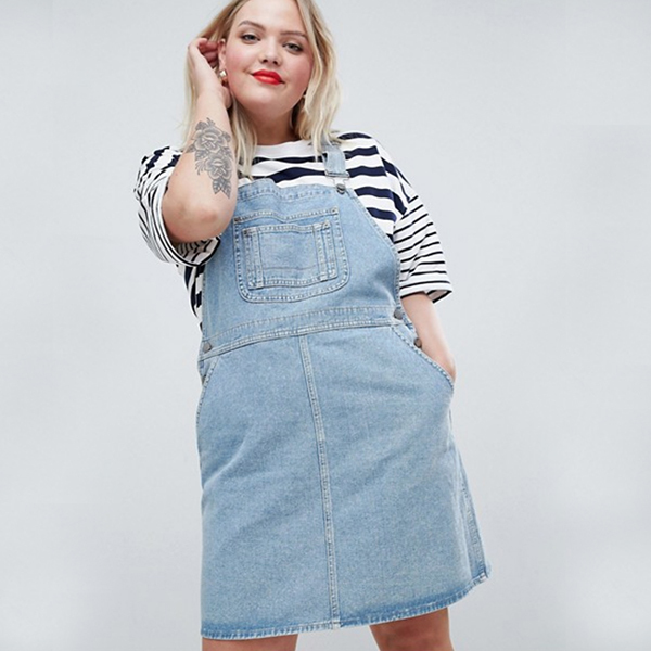 denim overall dress in plus size