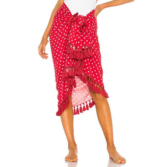 red and white polka-dot sarong beach cover-up