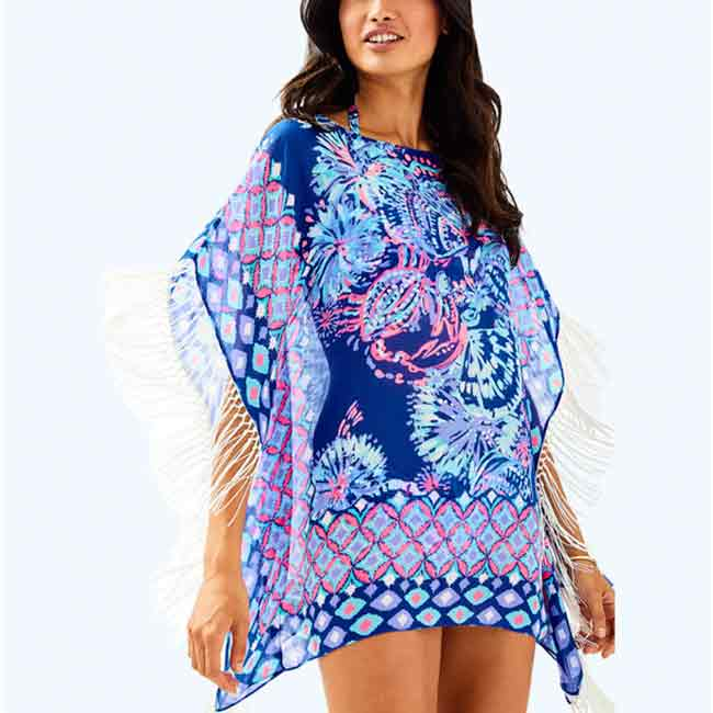 Printed beach Cover-up Poncho With Fringe Detail
