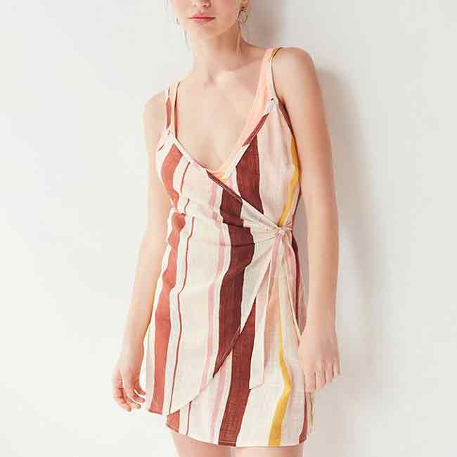 Vertically Striped Wrap Dress Beach Cover-up