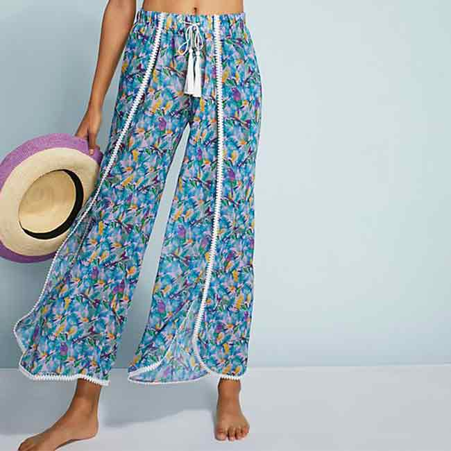 wide-leg beach cover-up pants with a blue tropical print
