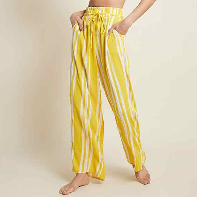 Wide-Leg striped beach cover-up pants in Yellow