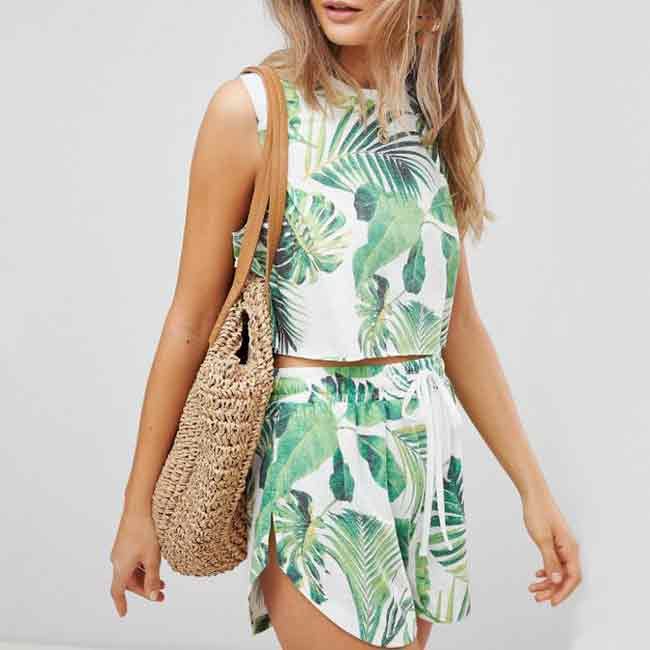 tropical print matching shorts and tank beach cover-ups