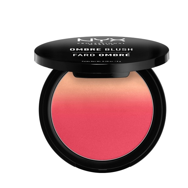 drugstore blush in ombre shades of red and orange