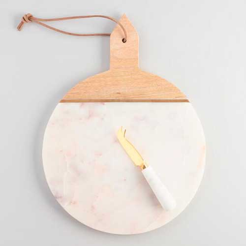 For the Hostess: White Marble and Wood Cheese Board Set