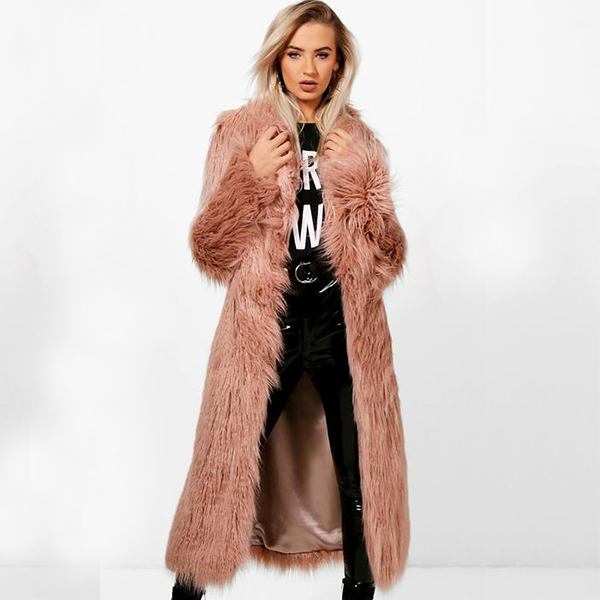 Duster long faux fur coat in light pink