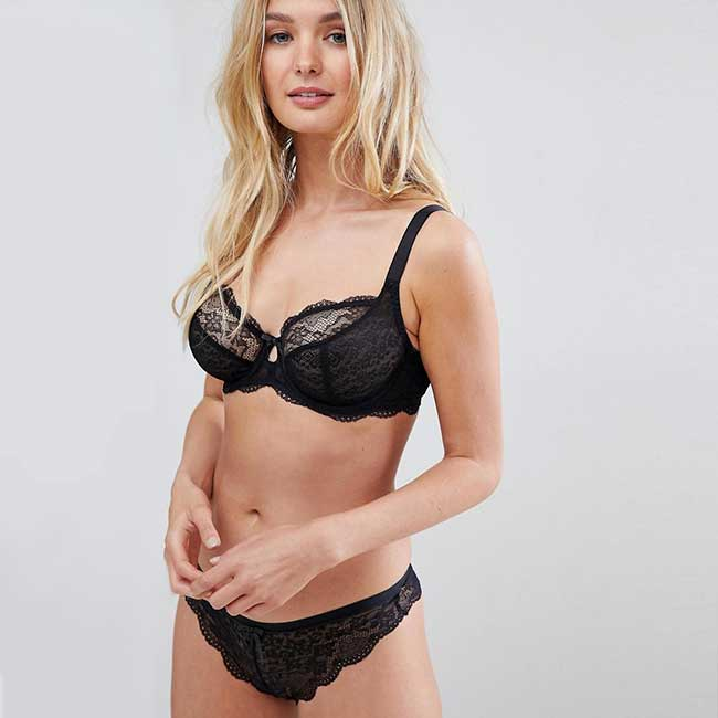 Model wearing black lace bra and underwear.