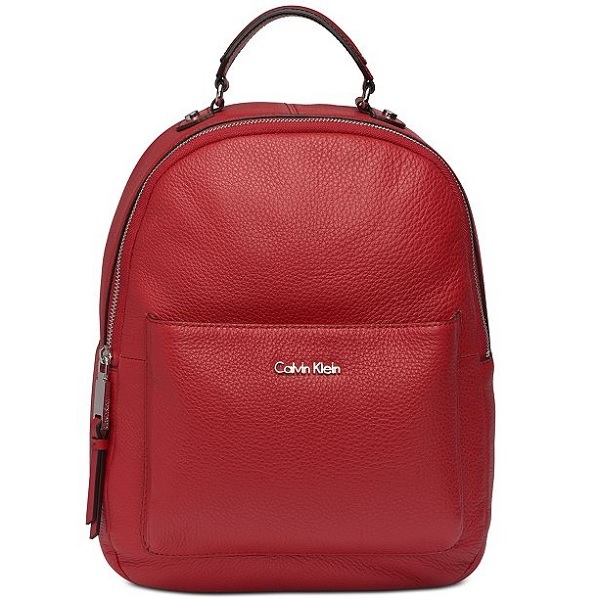 calvin klein backpack in red leather
