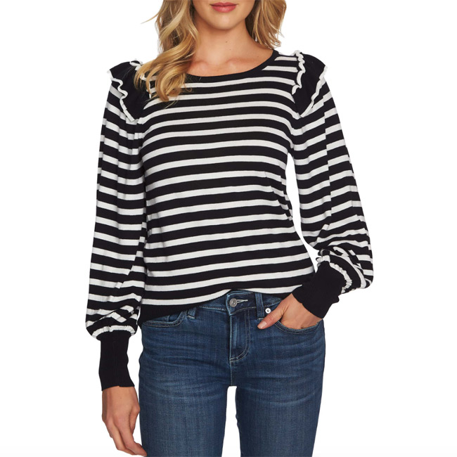 Valentine's Day Date Outfits CeCe Stripe Balloon Sleeve Sweater