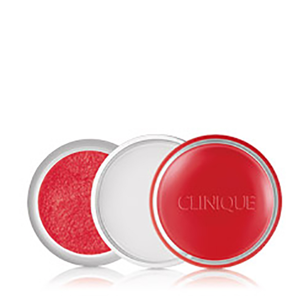 open jar of clinique lip scrub in pink-red color