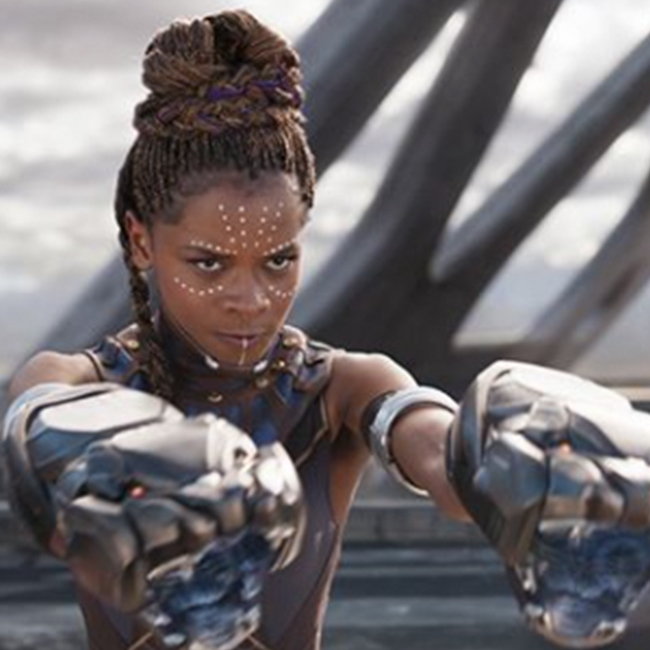 Letitia Wright dressed as Shuri from the movie Black Panther