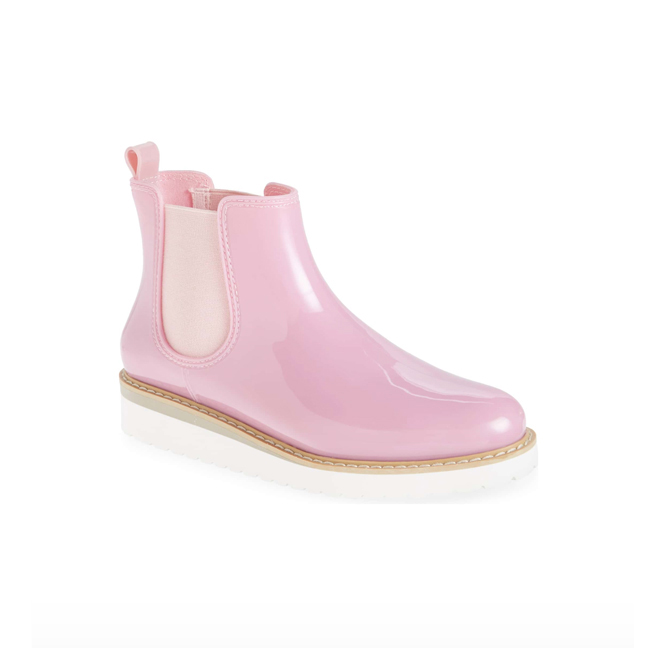 Profile photo of pink rubber Chelsea rain bootie with low white platform sole