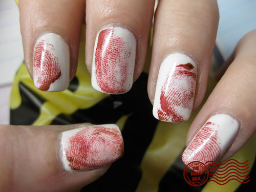 Creepy nail designs with bloody fingerprint marks