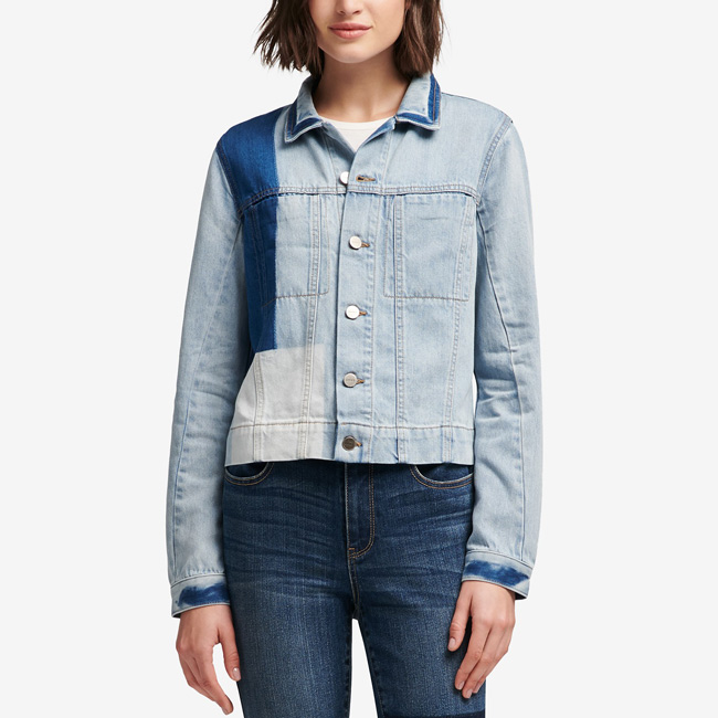 Lightweight Spring Jackets DKNY Cotton Patchwork Denim Jacket, Created for Macy's