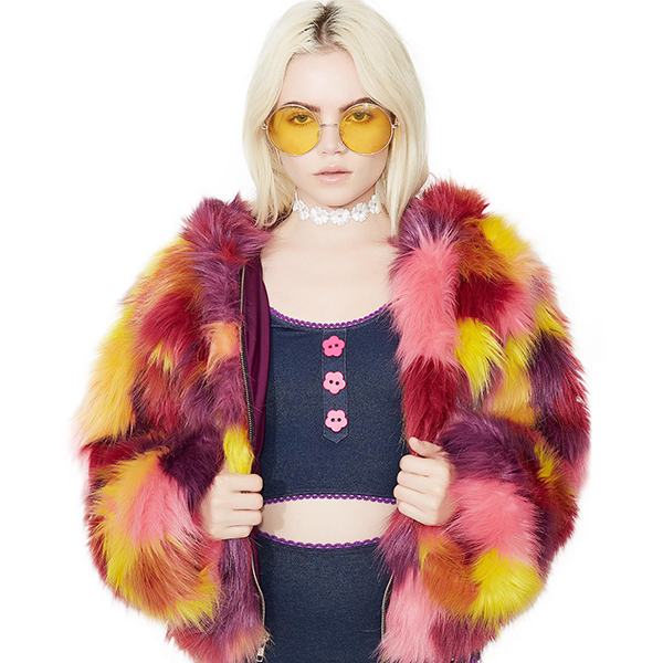 faux fur coat with pink, yellow, red, and purple patterns