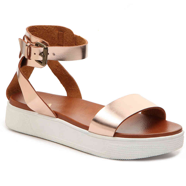 Mia flatform sandals in rose gold with white soles