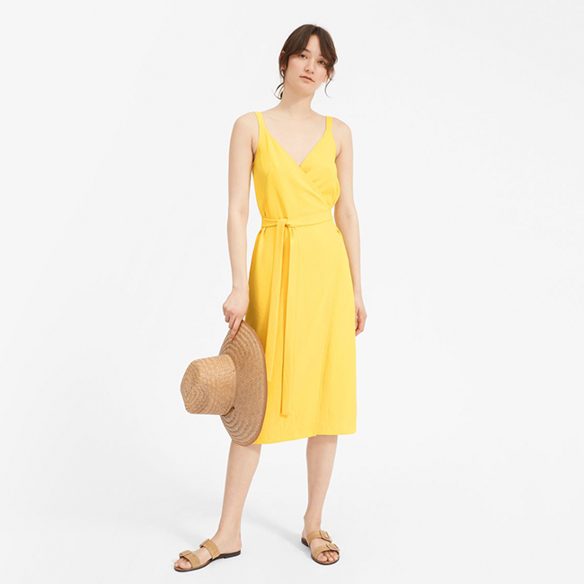 Everlane Yellow Wrap Dress