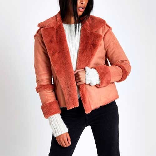 light pink faux shearling moto jacket