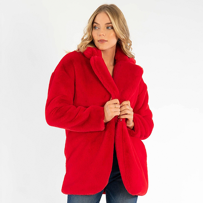Kut from the Kloth red faux fur coat