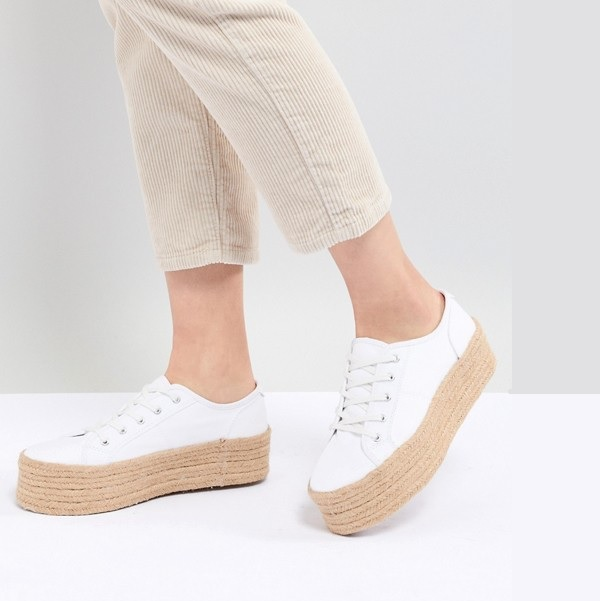 white flatform sneakers with espadrille soles