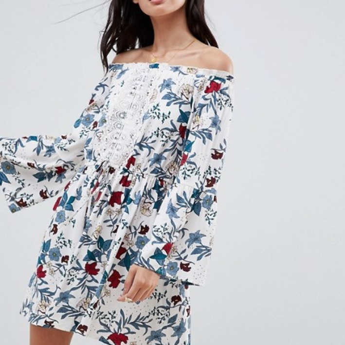 off-the-shoulder floral dress with a lace front