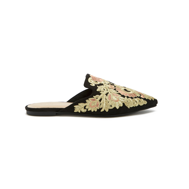 Profile photo of black mule with pointy toe and floral embroidery in gold and rose