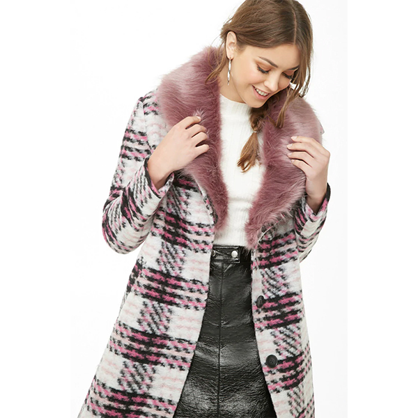 plaid faux fur coat with pink collar