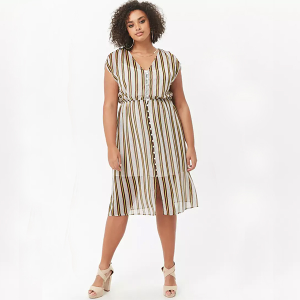 woman wearing a striped button front dress with mesh overlay