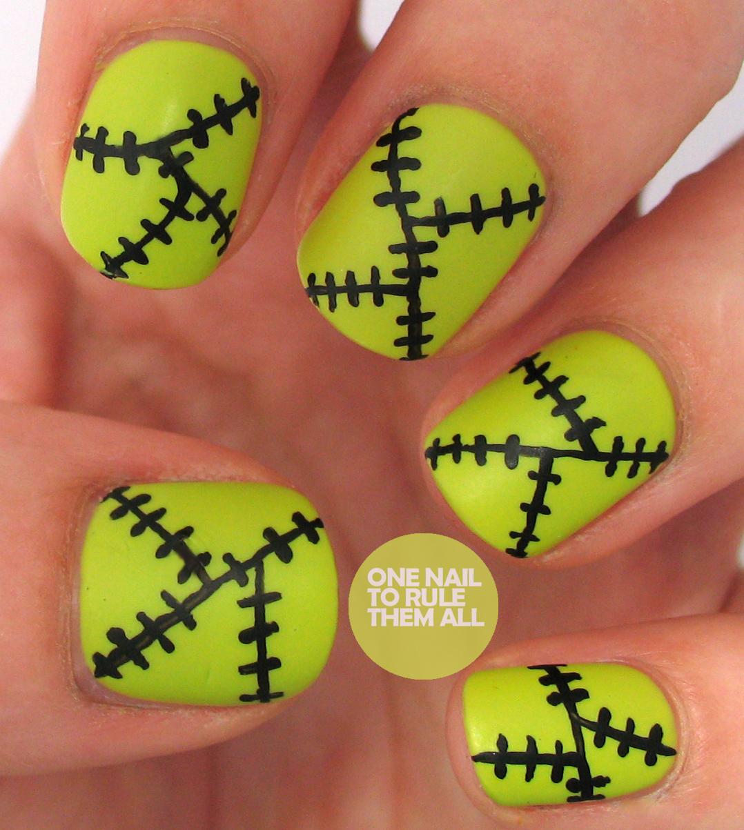 frankenstein halloween nails with neon polish and black lines