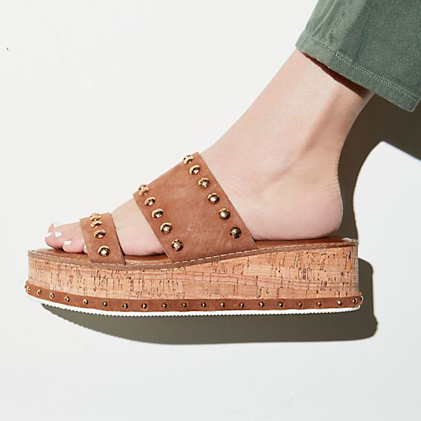 free people flatform sandals in cork and tan
