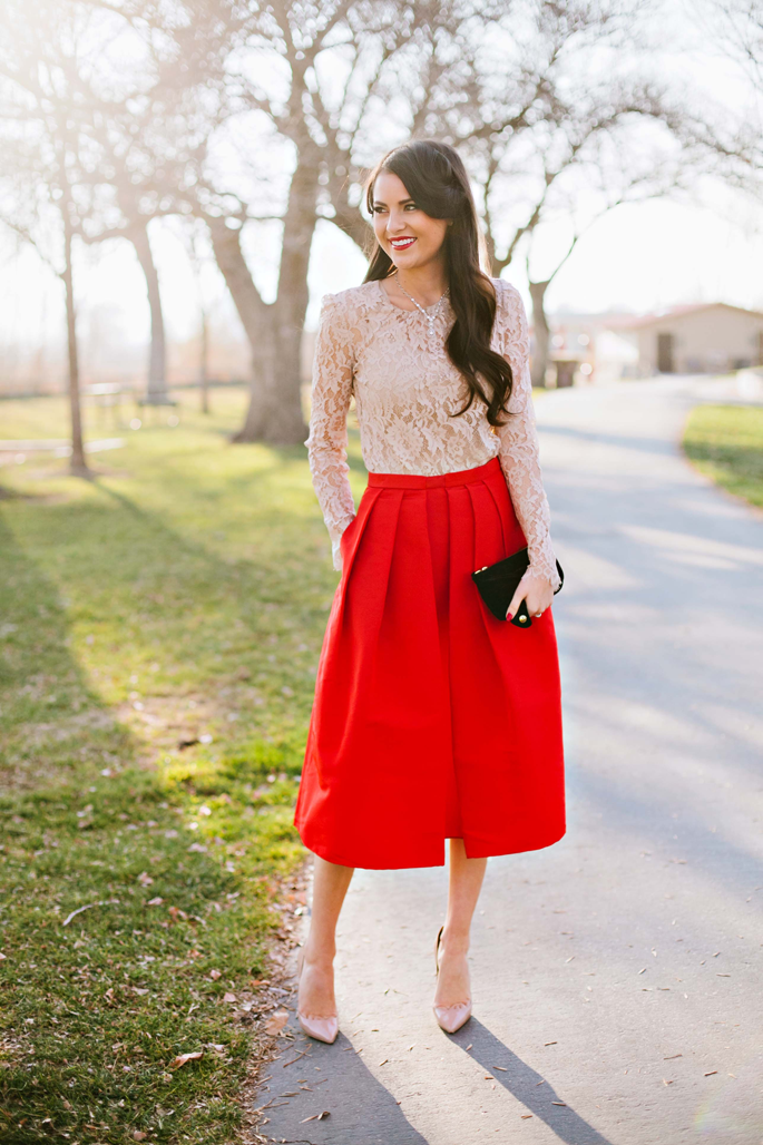 a2672ff22a This full-body skirt in a bright red hue is one of our favorite looks for  myriad Christmas gatherings. Dress yours up with a semi-sheer lace top, ...