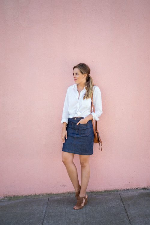 denim pencil skirt in denim skirt outfits