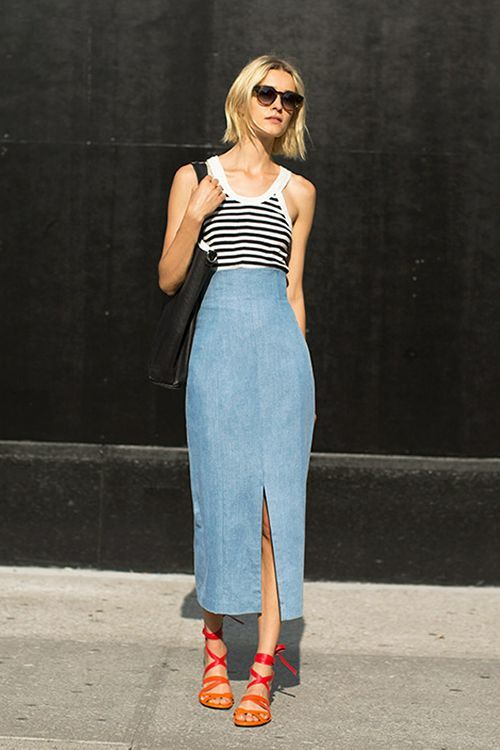 ways to wear a denim skirt, maxi skirt style