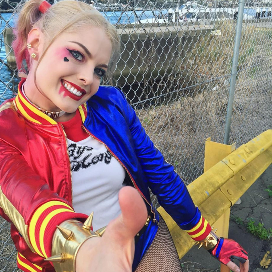 Margot Robbie dressed in costume as the comic book character Harley Quinn for the movie Suicide Squad