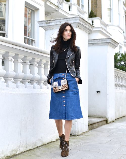 ways to wear a denim skirt, denim skirt outfits with leather jacket