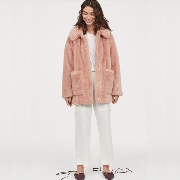 Light pink faux fur coat with pockets