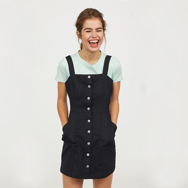 button front black overall dress