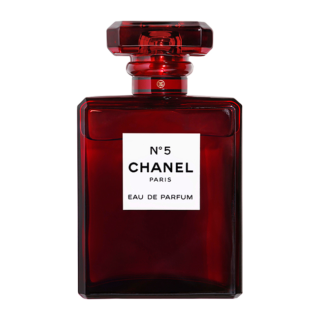 Chanel limited edition holiday perfume in a red glass bottle