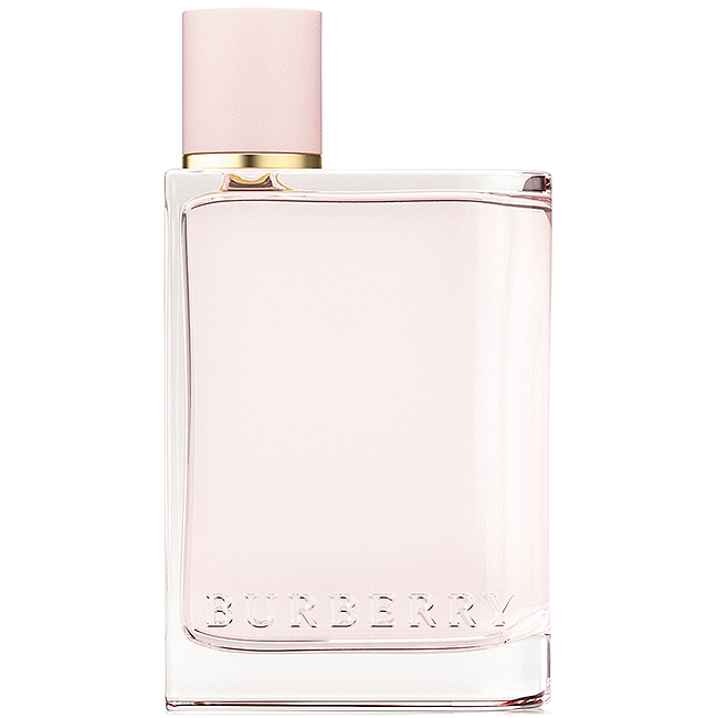 Burberry perfume in a square pink bottle with an off-center pink cap and gold accent