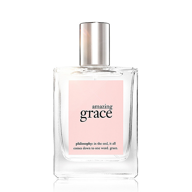 Square glass Philosophy perfume bottle with a silver cap